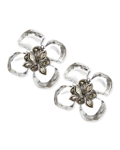 Clear Lucite Gardenia Earrings