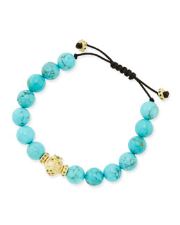 Armenta Turquoise-Beaded Bracelet with 18k Gold & Black Diamonds