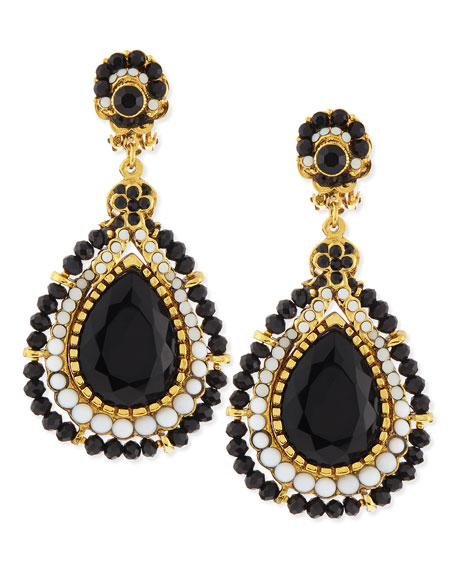 Black & White Crystal Large Teardrop Clip-On Earrings