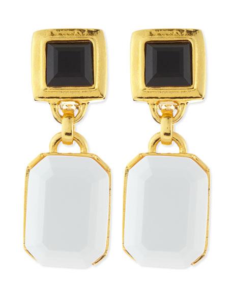 Black/White Facet Clip-On Earrings