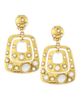 Jose & Maria Barrera Gold-Plated Square Drop Earrings with White Cabochons