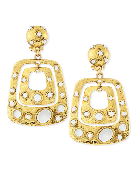 Gold-Plated Square Drop Earrings with White Cabochons