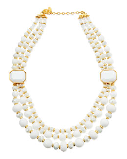 Jose & Maria Barrera Triple-Strand White Beaded Necklace