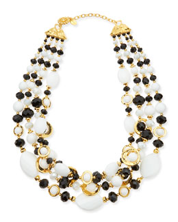 Jose & Maria Barrera Black & White Multi-Strand Necklace