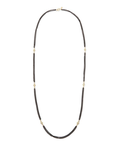 Armenta 3-Strand Midnight Necklace with Champagne Diamonds, 36""