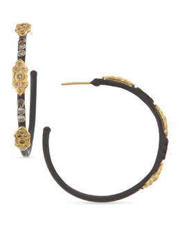 Armenta 18k & Midnight Diamond Hoop Earrings