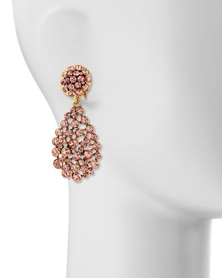 Bold Pear-Cut Cluster Drop Clip-On Earrings, Sorbet Pink