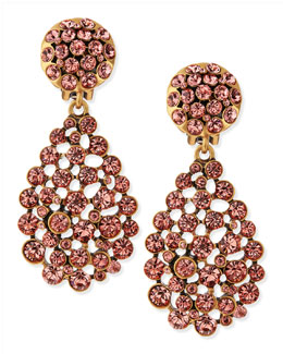 Oscar de la Renta Bold Pear-Cut Cluster Drop Clip-On Earrings, Sorbet Pink