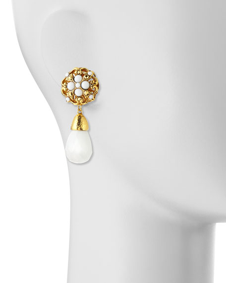 Floral Clip-On Earrings with White Drop