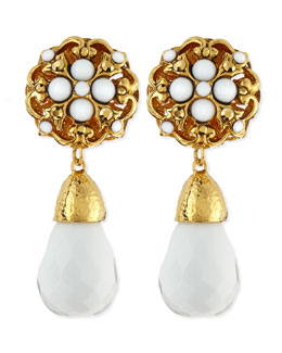 Jose & Maria Barrera Floral Clip-On Earrings with White Drop