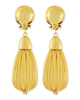 Jose & Maria Barrera Fluted Gold Plate Teardrop Earrings