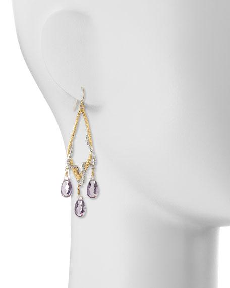 Pave Vine & Pink Amethyst Drop Earrings