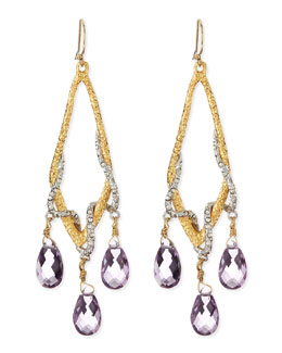 Alexis Bittar Pave Vine & Pink Amethyst Drop Earrings