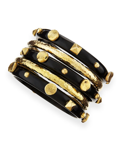 Ashley Pittman Sura Dark Horn Bangles, Set of 5