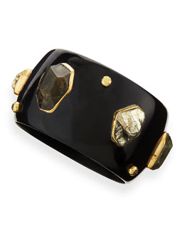 Ashley Pittman Usiku Dark Horn Bangle with Labradorite, Pyrite & Bronze Studs