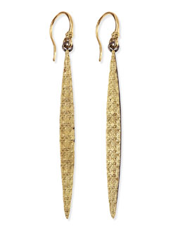 Armenta Midnight & Gold Scroll-Carved Marquise Earrings