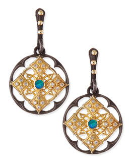 Armenta Midnight Scalloped Shield Earrings with Opal & Diamond