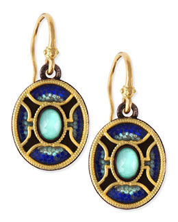 Armenta Midnight Oval Glass Mosaic Earrings