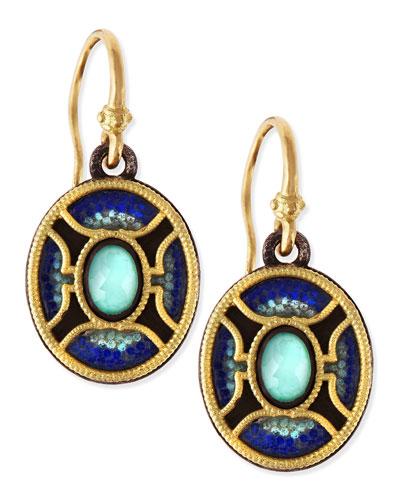 Armenta Midnight Oval Glass Mosaic Earrings