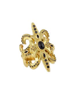 Armenta Sueño Black Sapphire & 18k Gold Scroll Ring