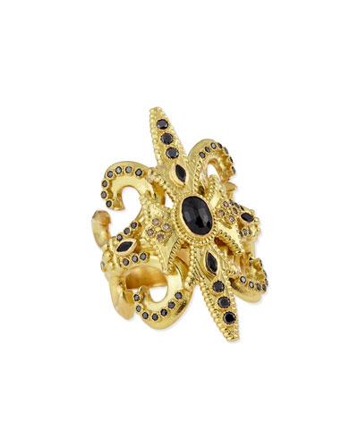 Armenta Sueño Black Sapphire & 18k Gold Scroll Ring