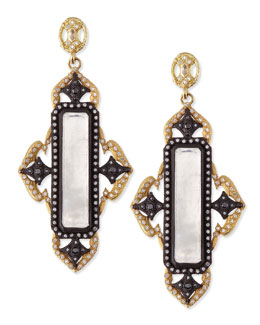 Armenta Old World Midnight & Gold Moonstone Earrings