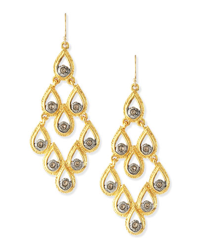 Alexis Bittar Elements Cholulian Golden Scallop Earrings with Crystals