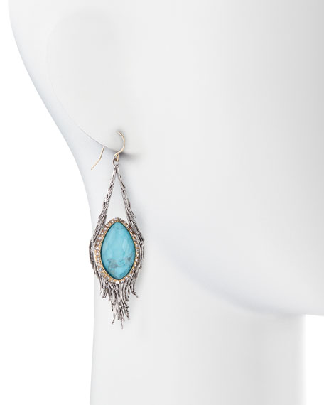 Elements Cholulian Turquoise & Silvery Feather Drop Earrings