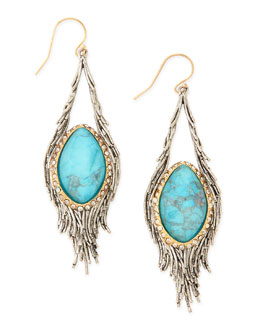 Alexis Bittar Elements Cholulian Turquoise & Silvery Feather Drop Earrings