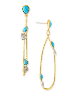 Alexis Bittar Golden Vine Turquoise Earrings