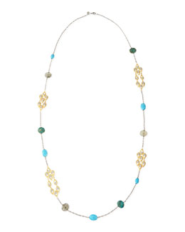 Alexis Bittar Multi-Stone & Crystal-Studded Scallop-Station Necklace, 42""