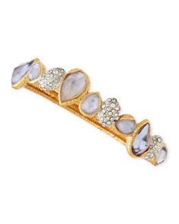 Alexis Bittar Elements Hinge Bracelet with Iolite-Colored Glass & Crystal