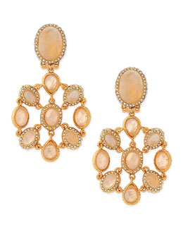 Alexis Bittar Rainbow Moonstone Cabochon Clip-On Earrings