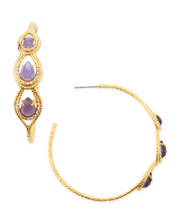Alexis Bittar Elements Iolite-Colored Glass & Crystal Hoop Earrings