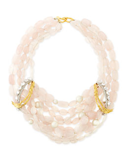 Alexis Bittar Pink Rose Quartz Necklace