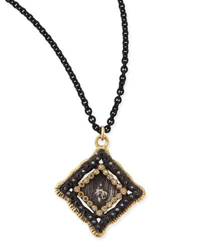 Armenta Midnight & Yellow Gold Coin Diamond Pendant Necklace
