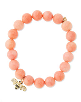 Sydney Evan Peach Coral-Beaded Bee-Charm Bracelet