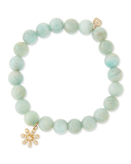 Sydney Evan Russian Amazonite Beaded Bracelet with Diamond Daisy