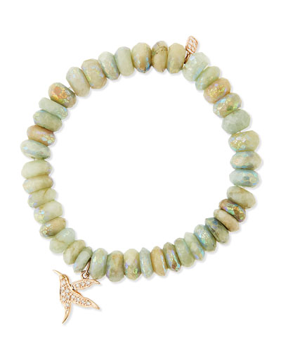 Sydney Evan Aqua Beaded Bracelet with Diamond Hummingbird