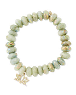Sydney Evan Mystic Aqua Beaded Bracelet with Diamond Lotus