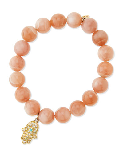 Sydney Evan Rainbow Moonstone Beaded Bracelet with Diamond Hamsa