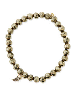 Sydney Evan Pyrite Beaded Bracelet with Diamond Horn