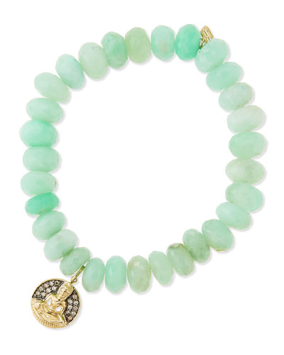 Sydney Evan Chrysoprase Beaded Bracelet with Diamond Buddha