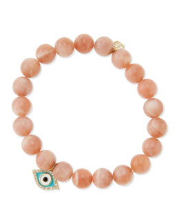 Sydney Evan Rainbow Moonstone Beaded Bracelet with Diamond Evil Eye