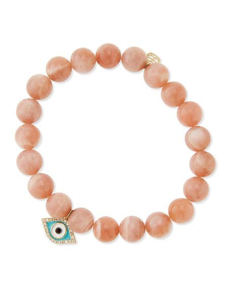 Rainbow Moonstone Beaded Bracelet with Diamond Evil Eye