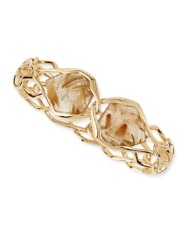 Alexis Bittar Liquid Rutilated Quartz & Golden-Barbed Bracelet
