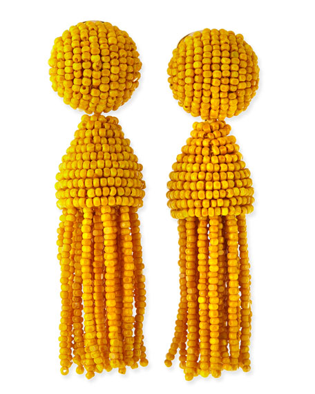 Beaded Short Tassel Clip-On Earrings, Canary