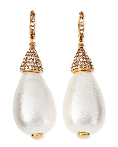 Pave Pearly Drop Earrings