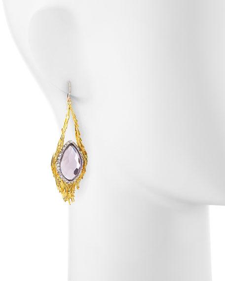 Maldivian Pink Amethyst Feather Earrings
