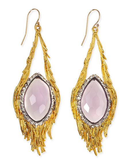 Maldivian Pink Amethyst Feather Earrings